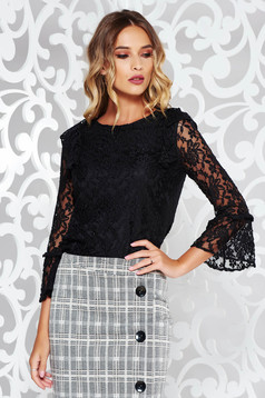 StarShinerS black women`s blouse elegant flared from laced fabric with inside lining with ruffled sleeves