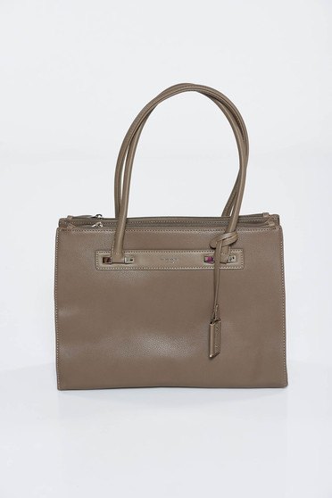Grey bag office from ecological leather short handles