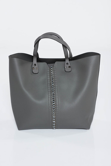 Darkgrey bag office from ecological leather