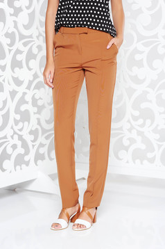 StarShinerS brown office with medium waist trousers with straight cut slightly elastic fabric