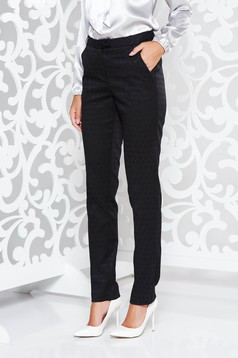 StarShinerS black office with medium waist trousers with straight cut slightly elastic fabric