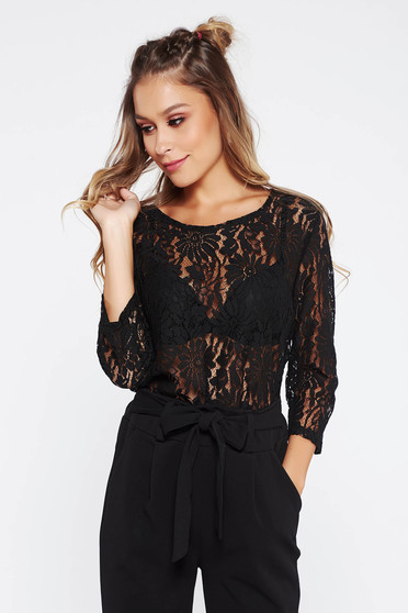 StarShinerS black laced flared women`s blouse