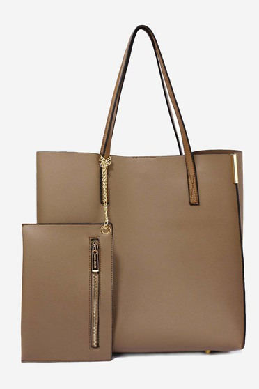Brown bag from ecological leather short handles