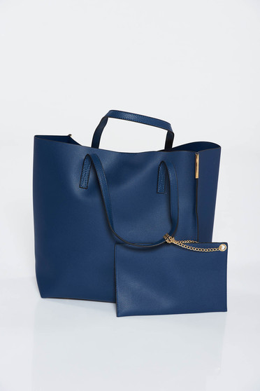 Darkblue bag from ecological leather short handles