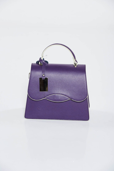 Purple casual bag leather long handle and short handle