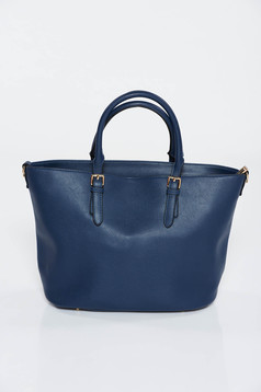 Darkblue bag office from ecological leather medium handles