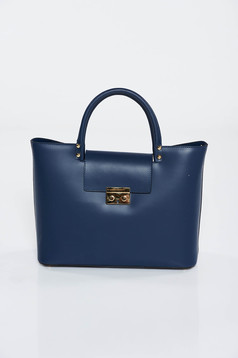 Darkblue bag office natural leather with metalic accessory