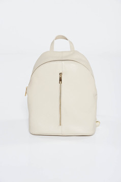Cream backpacks casual natural leather zipper accessory