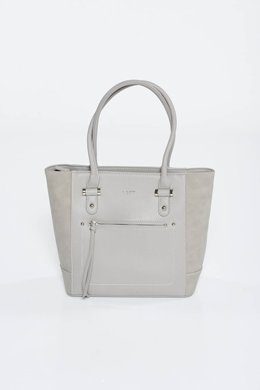 Grey office bag medium handles from ecological leather