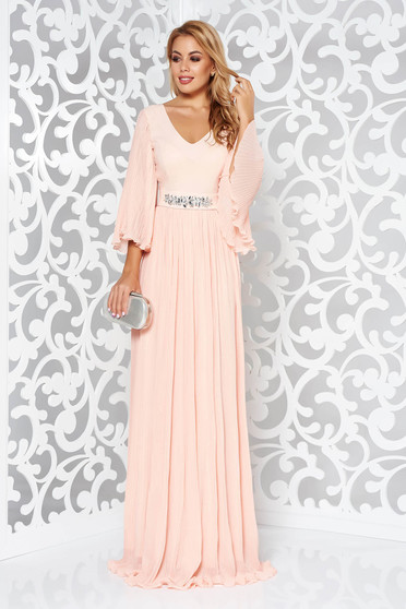 StarShinerS peach dress from veil fabric with inside lining occasional accessorized with tied waistband with embellished accessories