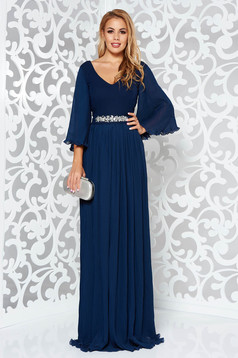 StarShinerS darkblue occasional dress from veil fabric with inside lining accessorized with tied waistband with embellished accessories