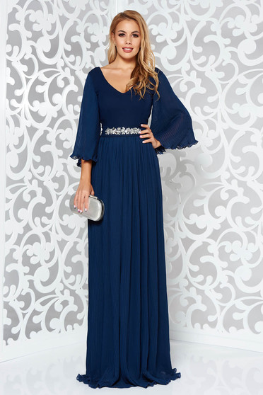 StarShinerS darkblue dress from veil fabric with inside lining occasional accessorized with tied waistband with embellished accessories