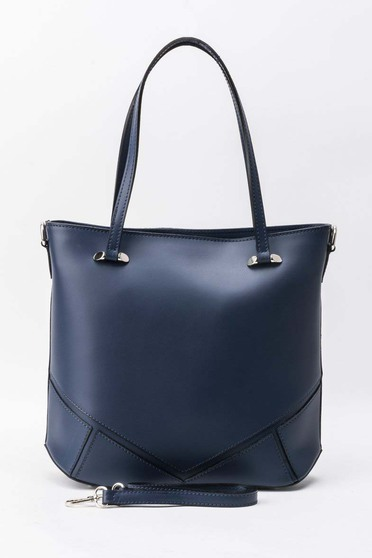 Darkblue office bag short handles natural leather