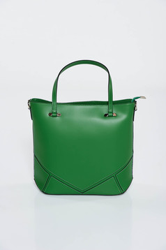 Green office bag short handles natural leather