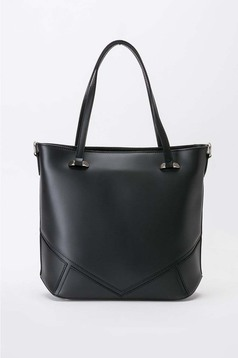 Black office bag short handles natural leather