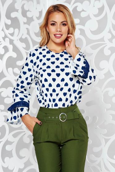 Blue 3/4 sleeve flared women`s blouse slightly elastic fabric with ruffled sleeves