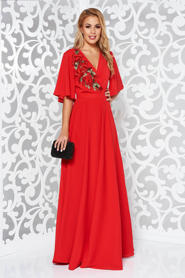 StarShinerS red occasional dress from veil fabric with inside lining with elastic waist large sleeves