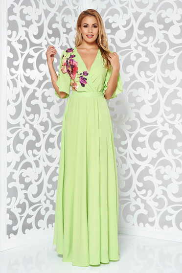 StarShinerS green occasional dress from veil fabric with inside lining with elastic waist large sleeves