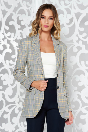 StarShinerS yellow office jacket slightly elastic fabric with inside lining arched cut plaid fabric with pockets