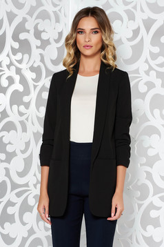 StarShinerS black jacket office flared non-flexible thin fabric with inside lining with pockets