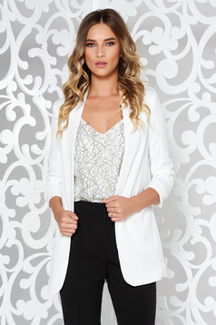 StarShinerS white jacket office flared non-flexible thin fabric with inside lining with pockets