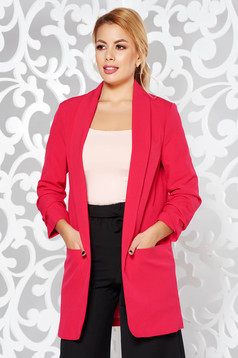 StarShinerS coral jacket office flared non-flexible thin fabric with inside lining with pockets