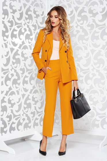 StarShinerS mustard lady set office nonelastic fabric arched cut with inside lining with pockets