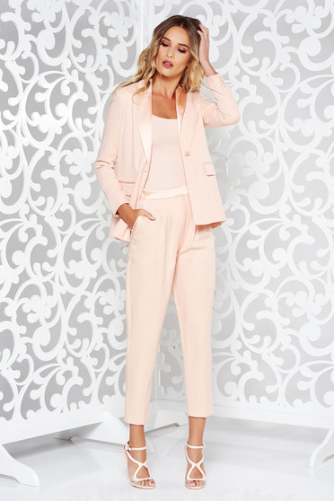 StarShinerS peach lady set office nonelastic fabric arched cut with inside lining with pockets
