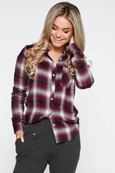Purple casual long sleeve flared women`s shirt nonelastic cotton with chequers