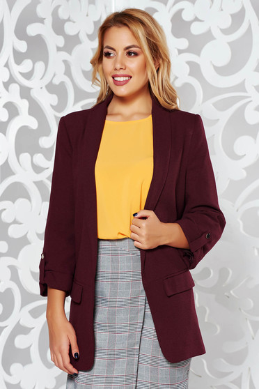 Purple office tented 3/4 sleeve jacket from non elastic fabric with pockets