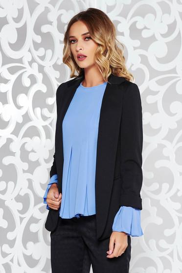 Black office flared jacket long sleeve slightly elastic fabric