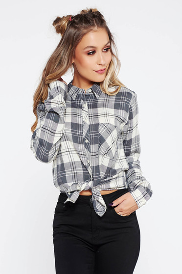 Grey casual long sleeve flared women`s shirt nonelastic cotton with chequers