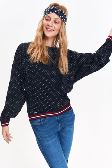 Top Secret darkblue women`s blouse casual flared from soft fabric with dots print