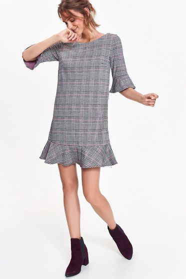Top Secret grey dress flared airy fabric plaid fabric with ruffle details casual office