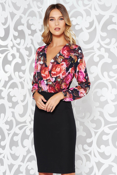StarShinerS black dress office pencil with v-neckline with floral prints slightly elastic fabric