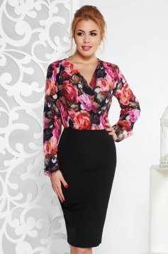StarShinerS black office pencil dress with v-neckline with floral prints slightly elastic fabric