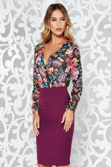 StarShinerS purple dress office pencil with v-neckline with floral prints slightly elastic fabric