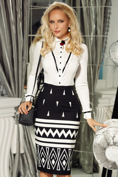 Fofy white women`s shirt office cotton with tented cut accessorized with breastpin