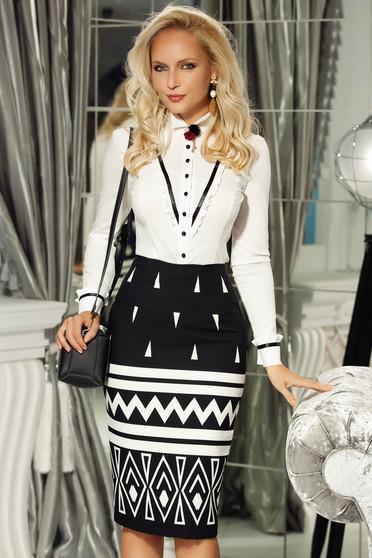 Fofy black office midi pencil skirt slightly elastic fabric high waisted