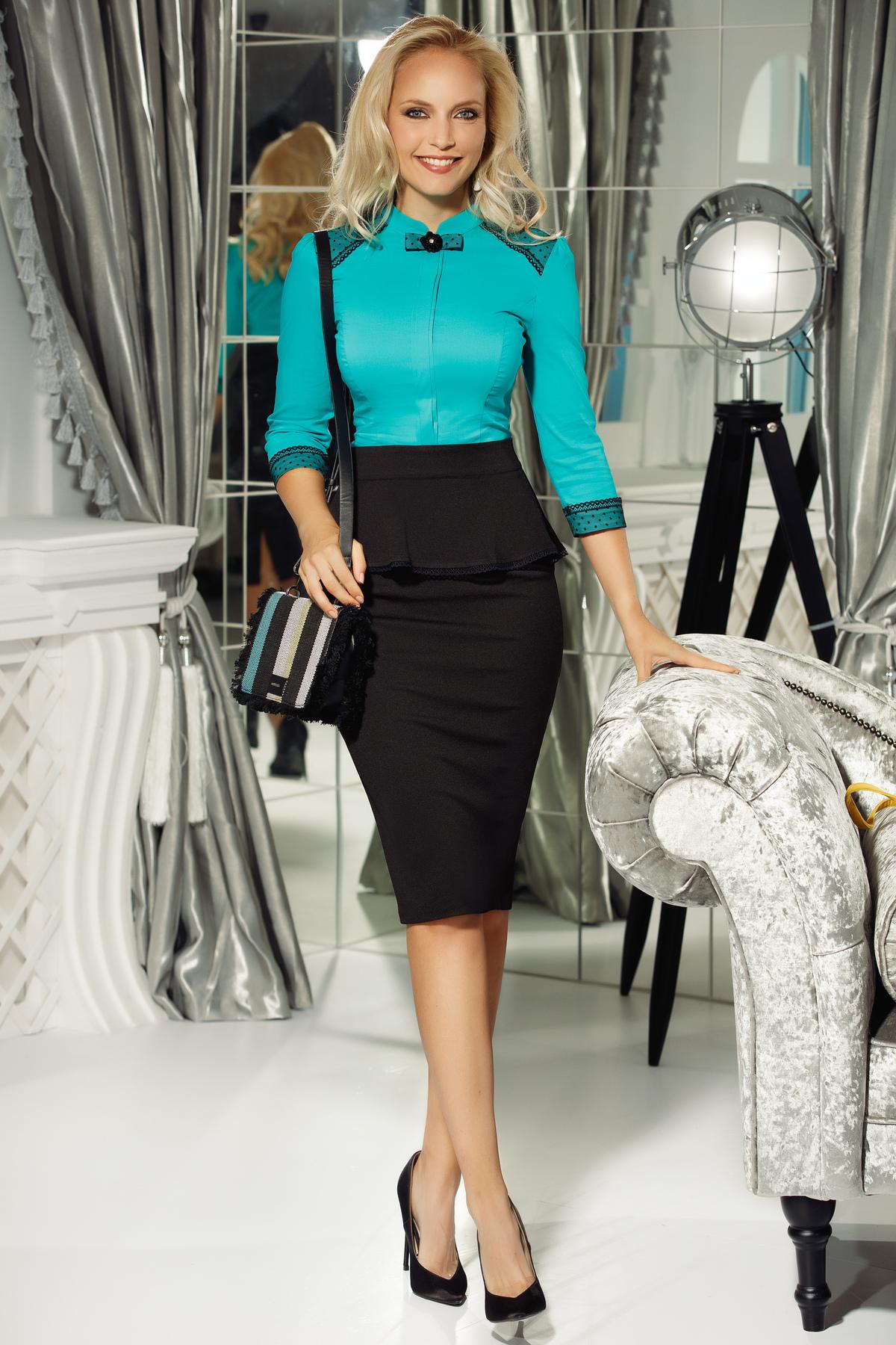 Camasa dama Fofy turcoaz office cu un croi mulat din bumbac usor elastic cu aplicatii de dantela