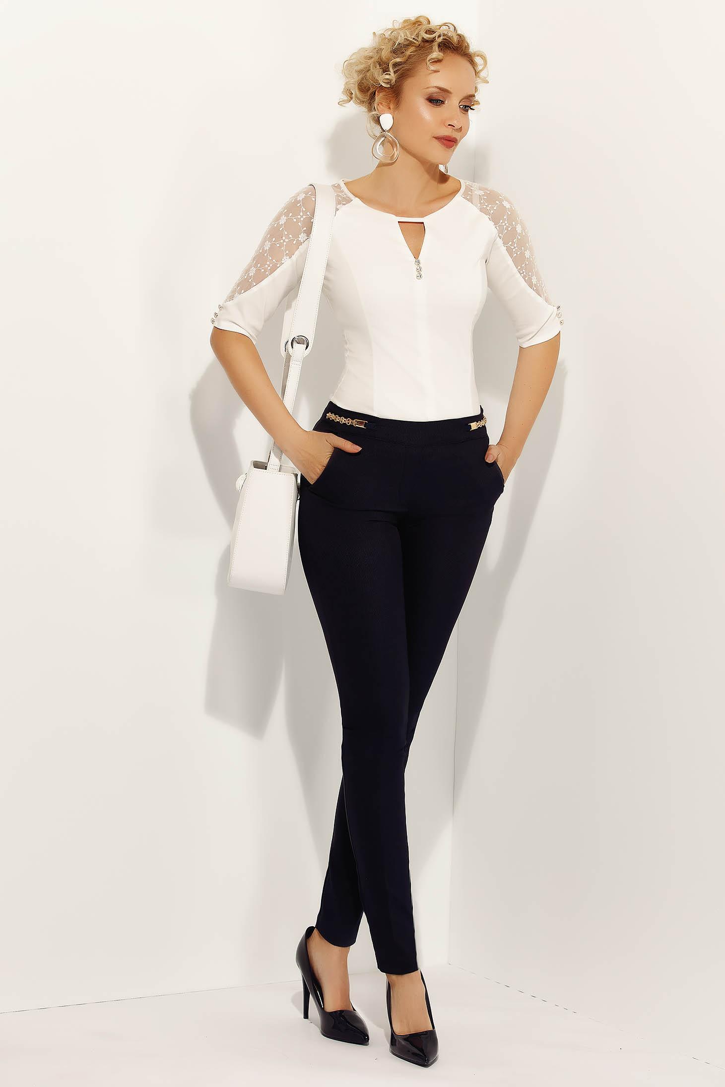 Pantaloni Fofy negri office conici din bumbac usor elastic cu talie medie si buzunare