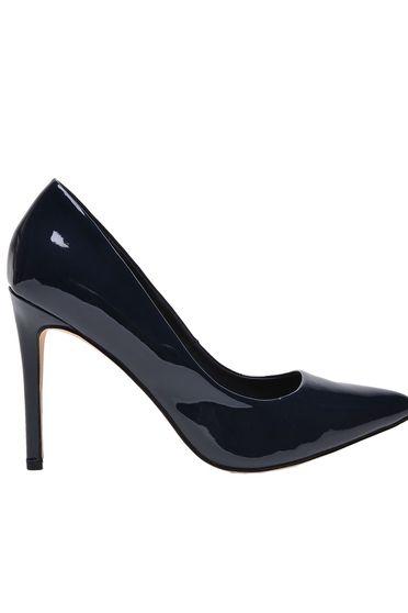 Top Secret darkblue shoes elegant from ecological varnished leather slightly pointed toe tip
