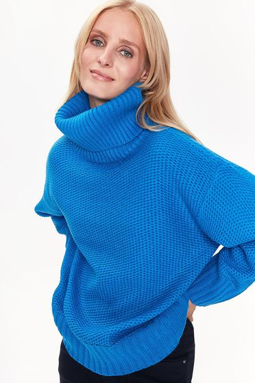Top Secret blue sweater casual flared from thick fabric knitted turtleneck
