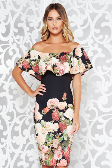 StarShinerS black occasional midi pencil dress off shoulder soft fabric with floral print
