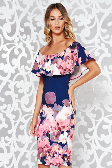 StarShinerS darkblue occasional midi pencil dress off shoulder soft fabric with floral print