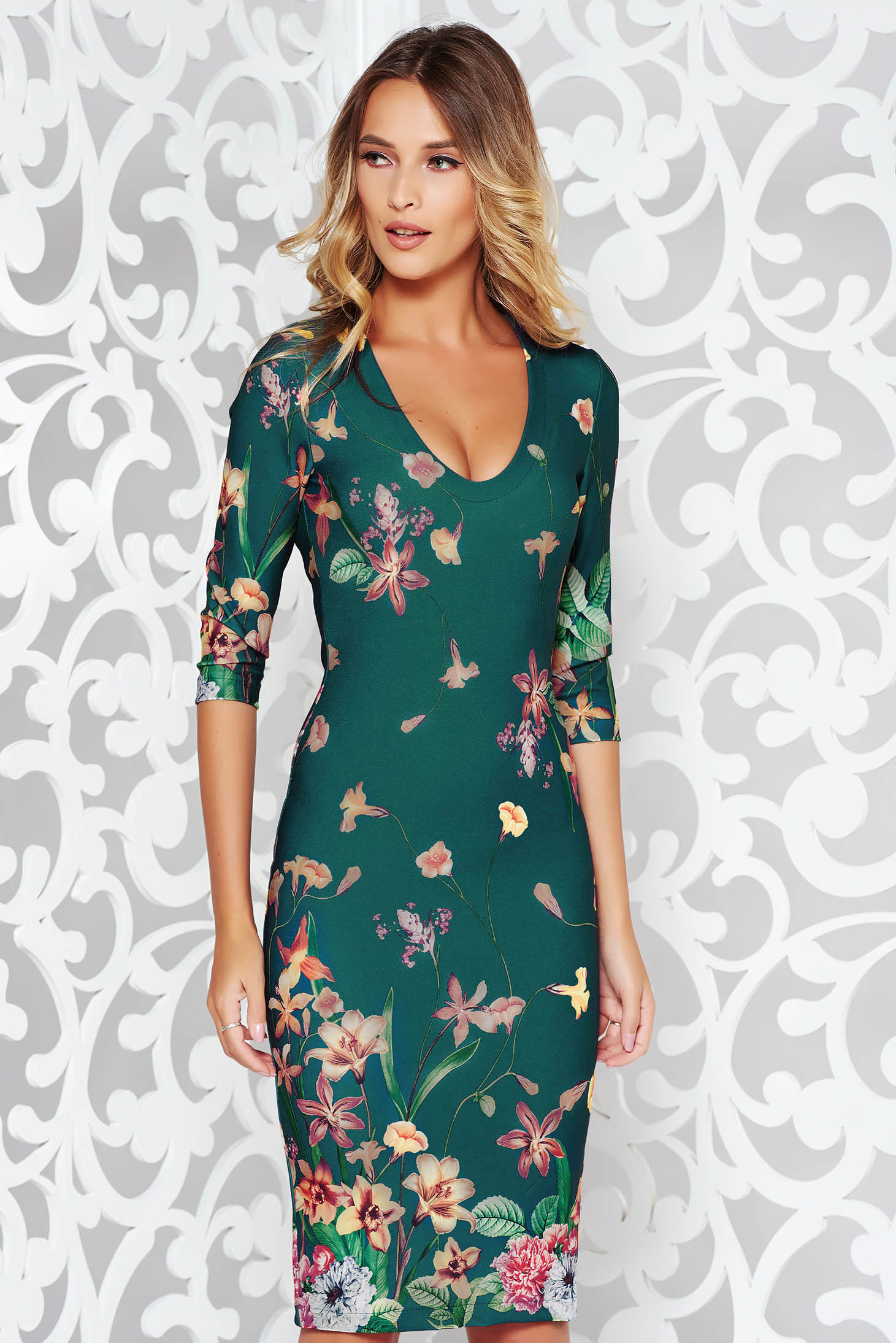 StarShinerS green dress office pencil slightly elastic fabric with rounded cleavage midi