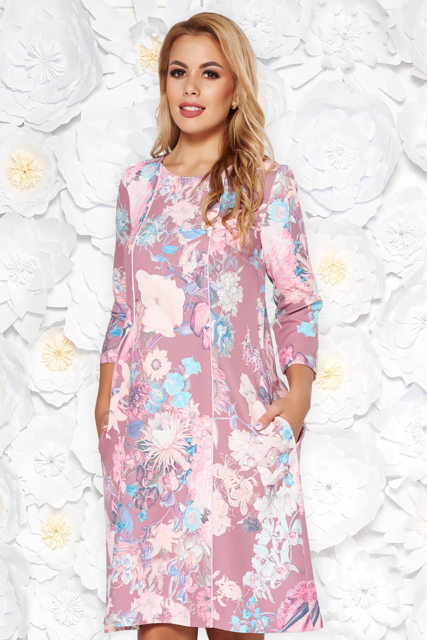 Rochie StarShinerS roz eleganta midi cu croi larg din stofa usor elastica cu buzunare