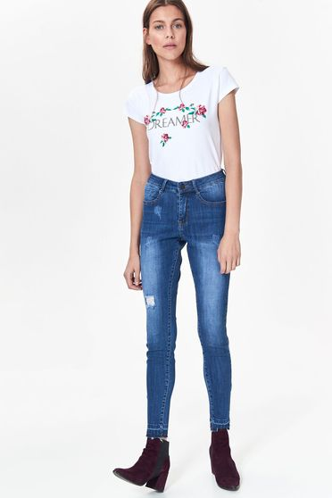 Top Secret white casual t-shirt nonelastic cotton with easy cut with floral prints