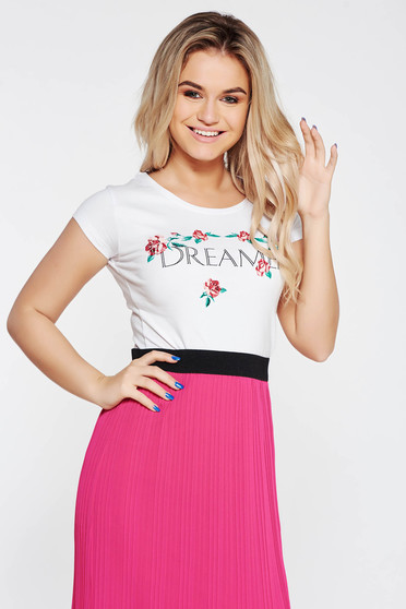 Top Secret white t-shirt casual nonelastic cotton with easy cut with floral prints