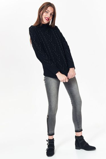 Top Secret black casual flared sweater knitted fabric with bright details
